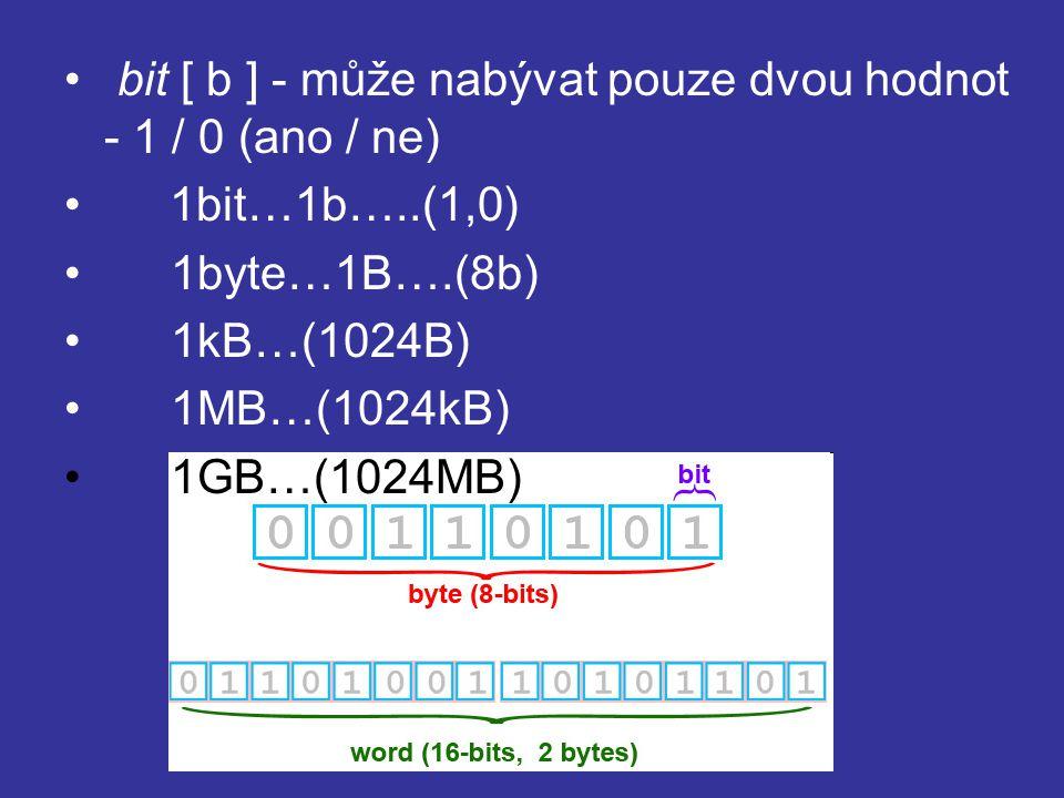 bit [ b ] - může nabývat pouze dvou hodnot - 1 / 0 (ano / ne)